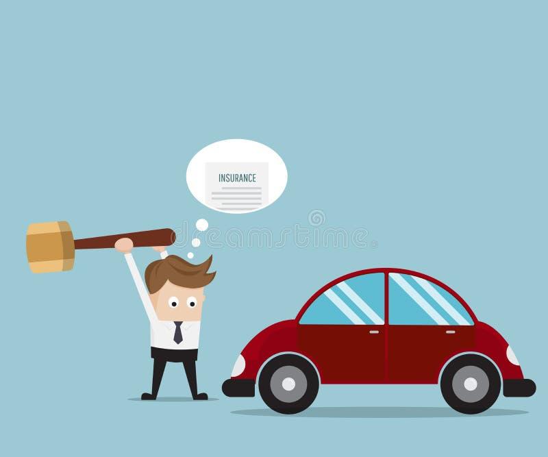 Zakenman Breaking His Car met Grote Hamer stock illustratie