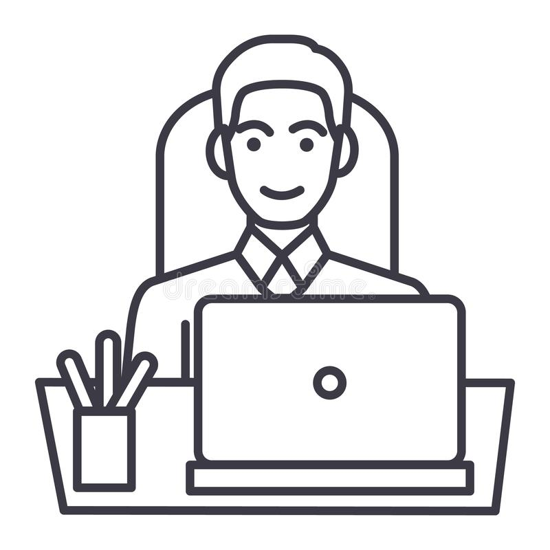 Zakenman in bureau bij lijst met laptop, pictogram van de vooraanzicht het vectorlijn, teken, illustratie op editable achtergrond royalty-vrije illustratie