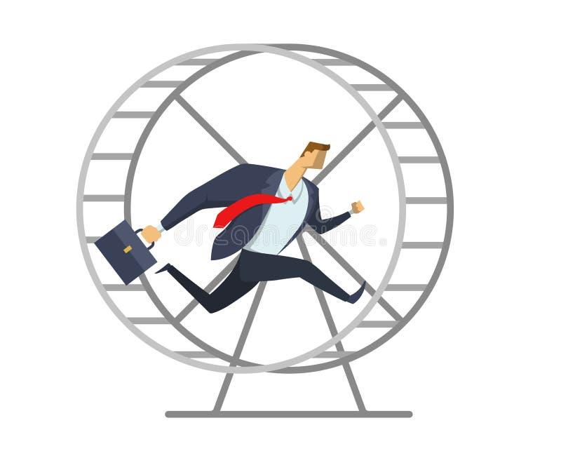 Zakenman in bureaukostuum die in een wiel zoals een eekhoorn lopen Op zijn plaats het lopen Haast omhoog Ras voor succes Concept vector illustratie