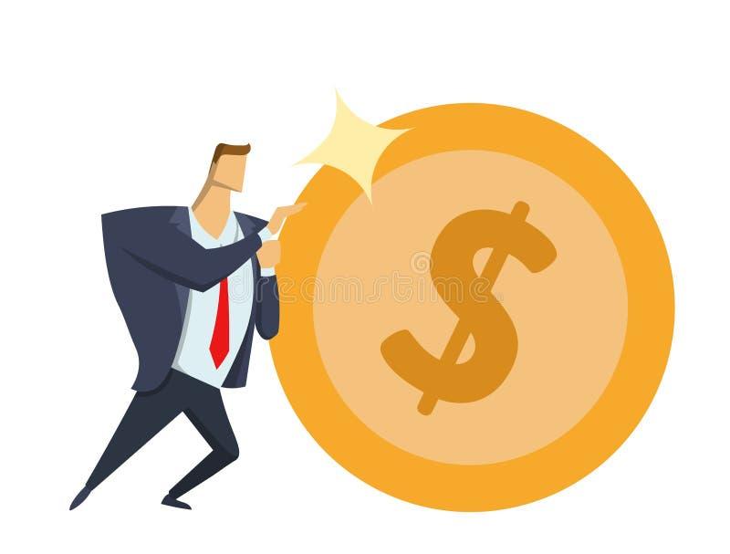 Zakenman in bureaukostuum die groot glanzend dollarmuntstuk naar voren schuiven Het bereiken doelstellingen Ras voor succes Sisyp vector illustratie