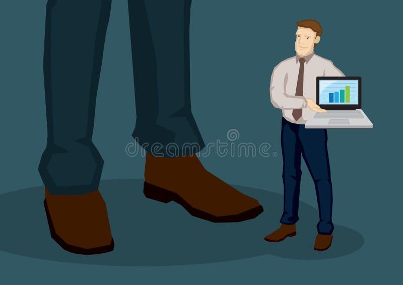 Zakenman Carrying Laptop die Bedrijfs de Groeigrafiek Vect tonen stock illustratie