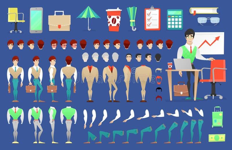 Zakenman Character Creation Constructor de mens in verschillend stelt Mannelijke Persoon met Gezichten, Wapens, Benen, Kapsels stock illustratie