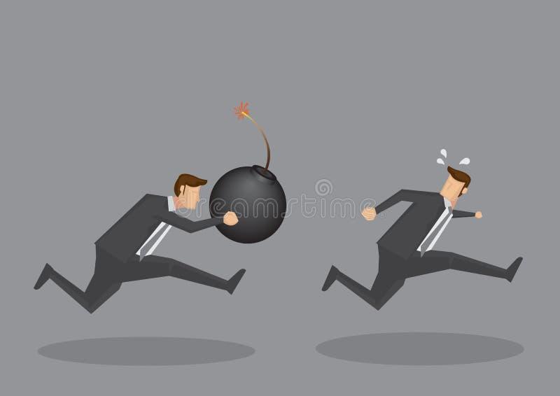 Zakenman Chasing After Another met een Bom stock illustratie