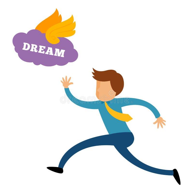 Zakenman Chasing His Dream vector illustratie