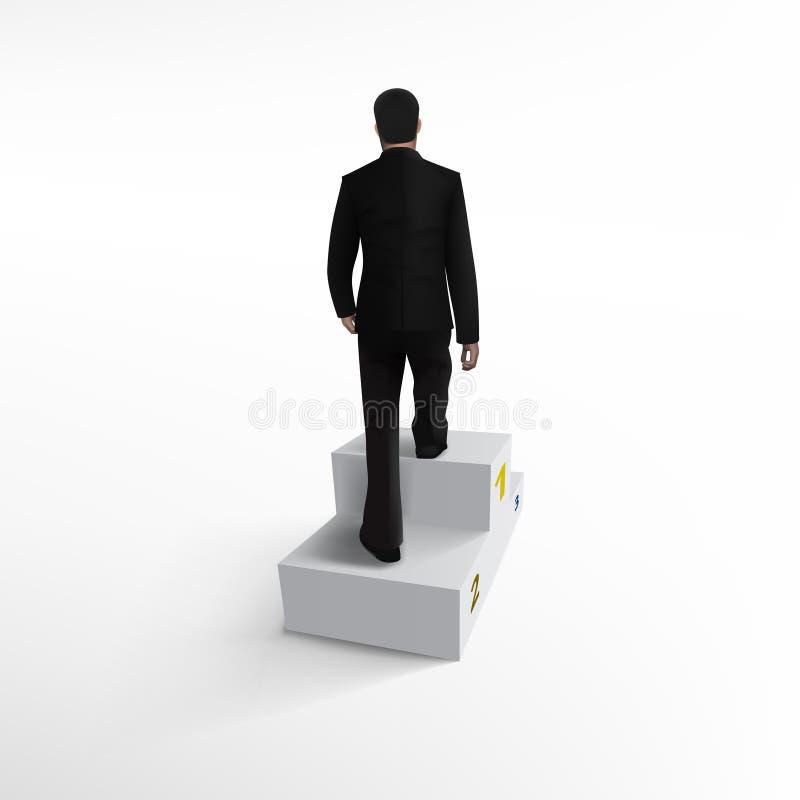 Zakenman Climbing Stairs Be het Eerste Concept stock illustratie