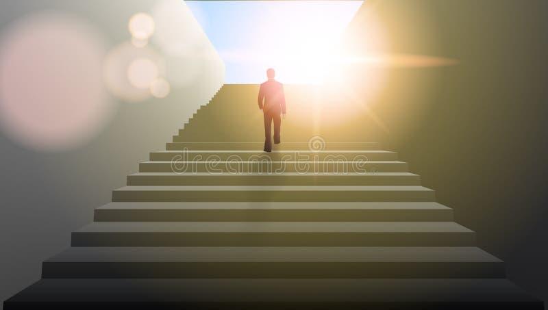 Zakenman Climbing Stairs Be het Eerste Concept vector illustratie