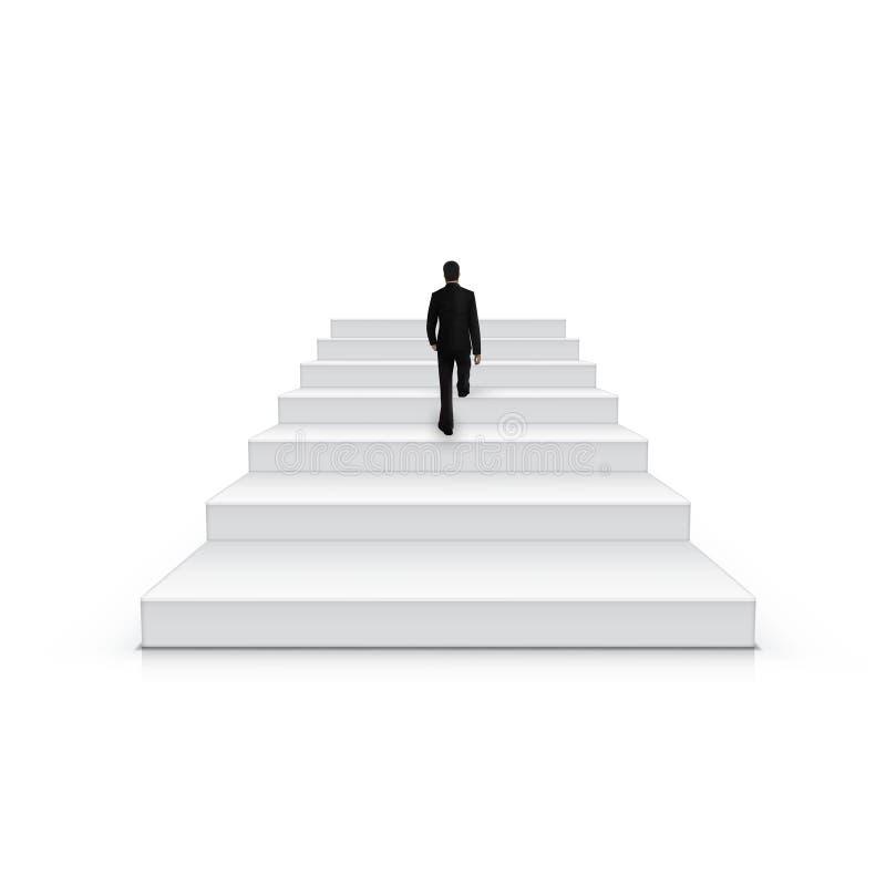 Zakenman Climbing Stairs Be het Eerste Concept royalty-vrije illustratie