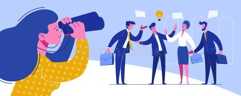 Zakenman Conference Workplace Negotiations royalty-vrije illustratie