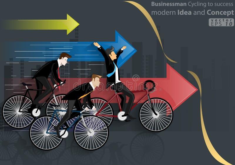 Zakenman Cycling aan succes modern Idee en Concepten Vectorillustratie met pictogram, pijl, stad stock illustratie