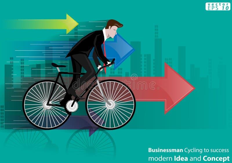 Zakenman Cycling aan succes modern Idee en Concepten Vectorillustratie met pictogram, pijl, stad royalty-vrije illustratie