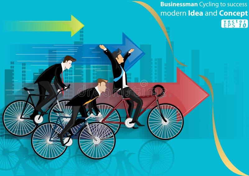 Zakenman Cycling aan succes modern Idee en Concepten Vectorillustratie met pictogram, pijl, stad vector illustratie