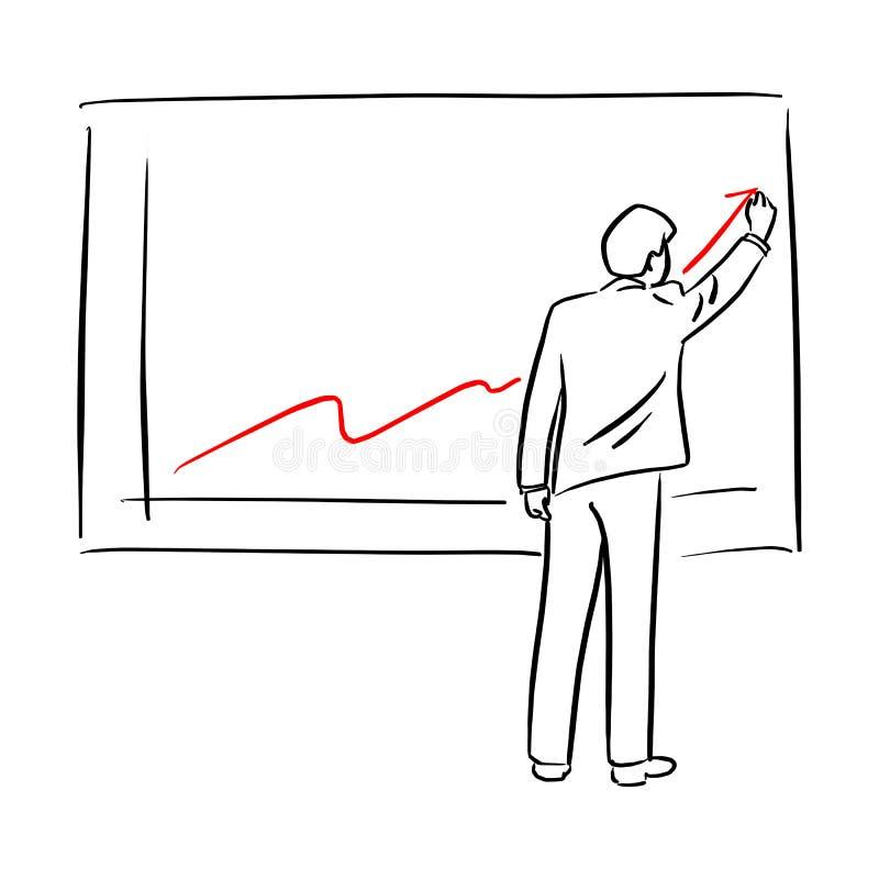 Zakenman in de grafiek van de kostuumtekening van de financiële hand van de de schetskrabbel van de de groei vectordieillustratie stock illustratie