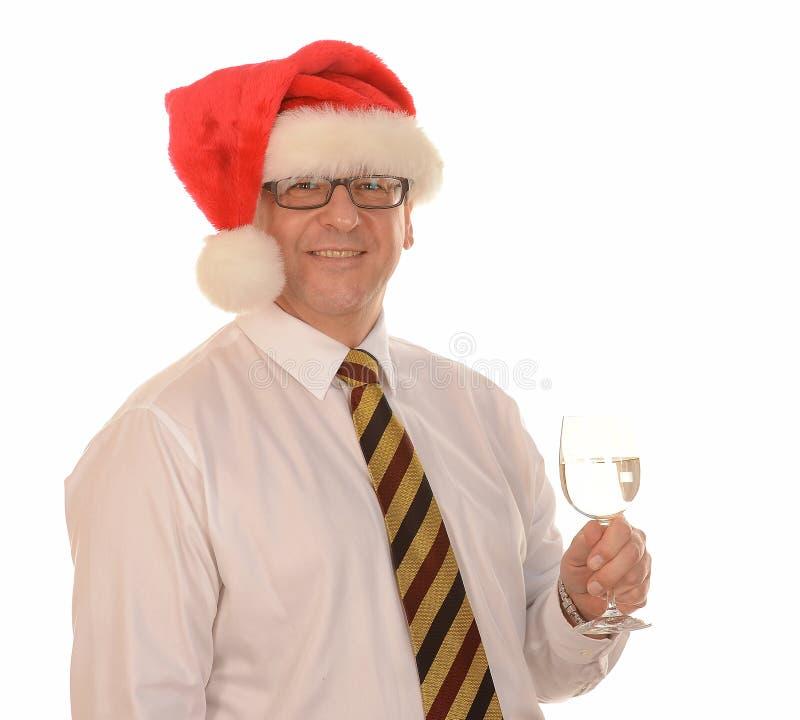 Zakenman in de hoed van de Kerstman royalty-vrije stock afbeeldingen