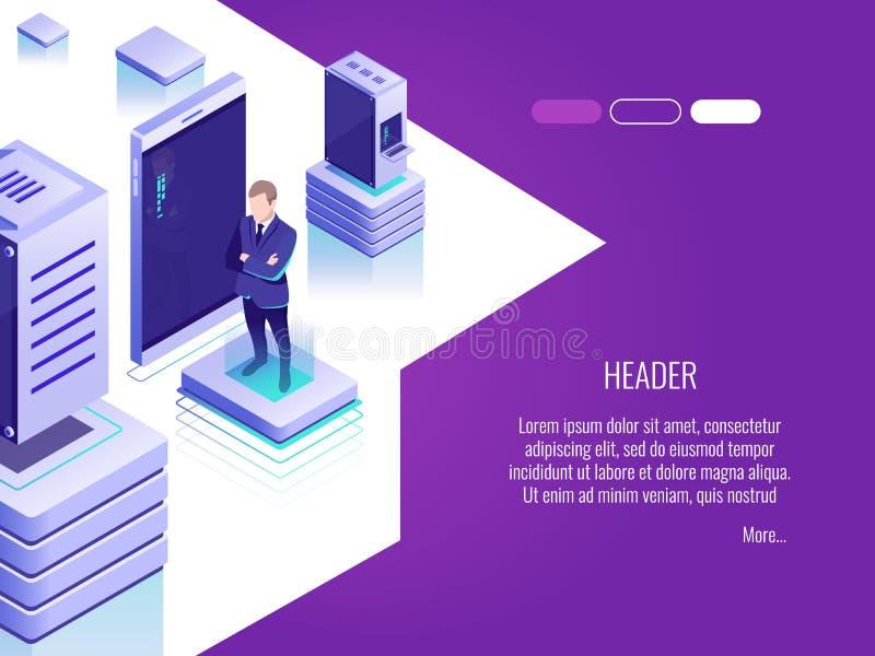 Zakenman in de ruimte van het gegevenscentrum Concept ontvangend server en computergegevensbestand Isometrische stijl royalty-vrije illustratie