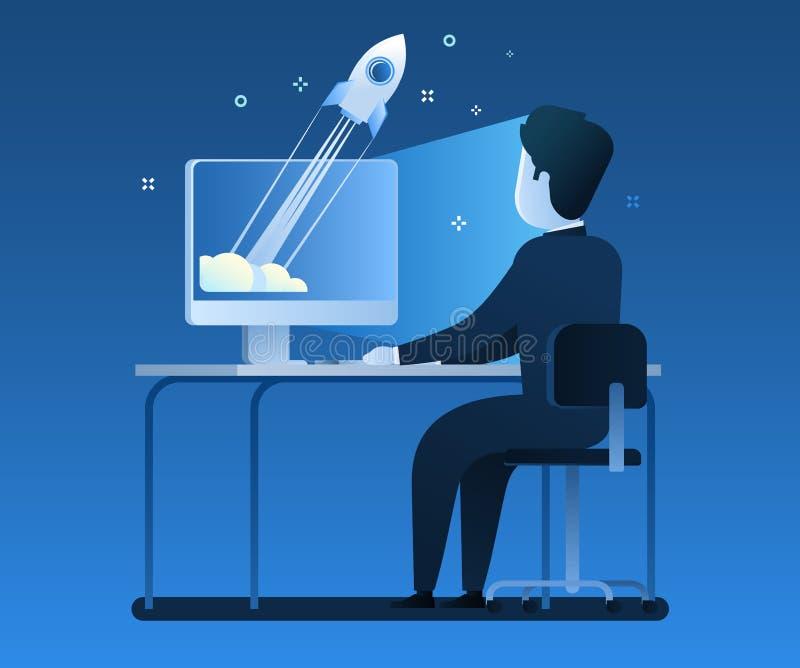 Zakenman de status door het bureau met laptop, een raket begint van laptop Opstarten van bedrijvenconcept vector illustratie