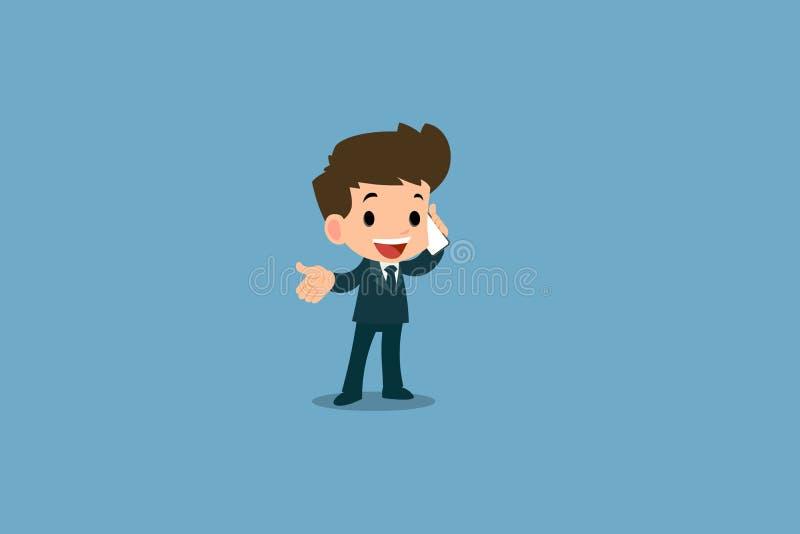 Zakenman de status en telefoneert met zijn slimme telefoon om met andere voor zaken te communiceren en voor het werk in zijn orga royalty-vrije illustratie