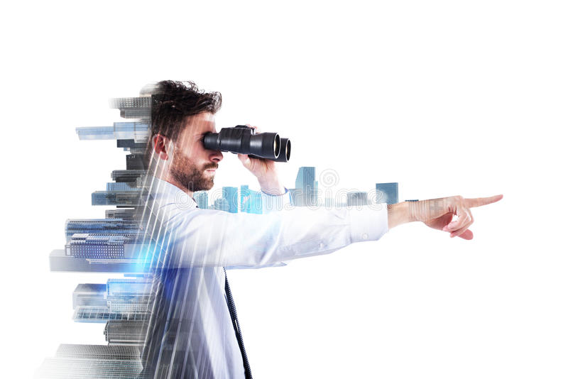 Zakenman die aan de toekomst kijkt stock foto