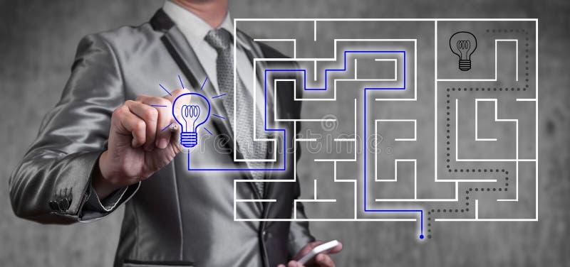 Zakenman die aan het digitale scherm van labyrint, bedrijfsstrategie werken stock afbeeldingen