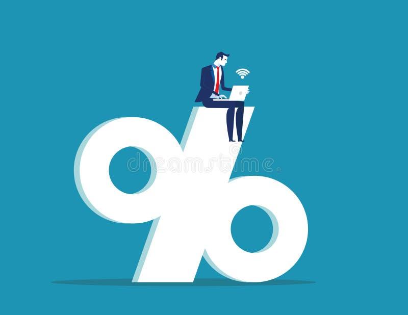 Zakenman die aan het grote percentageteken werken Concepten bedrijfssucces vectorillustratie Vlakke ontwerpstijl royalty-vrije illustratie