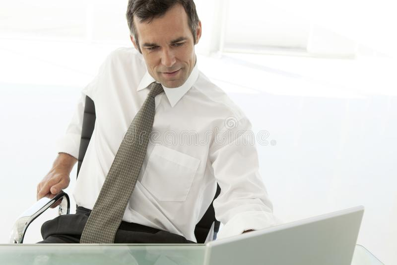 Zakenman die aan laptop in bureau werken royalty-vrije stock foto