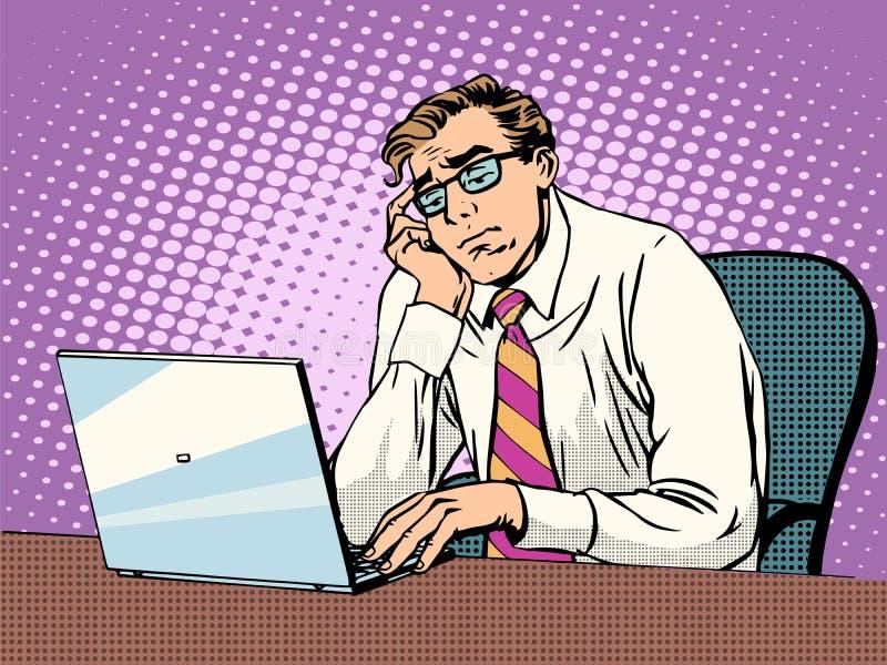 Zakenman die aan laptop verveling werken stock illustratie