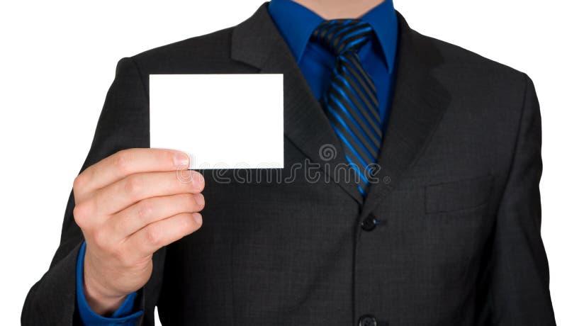 Zakenman die adreskaartje aanbiedt stock afbeelding