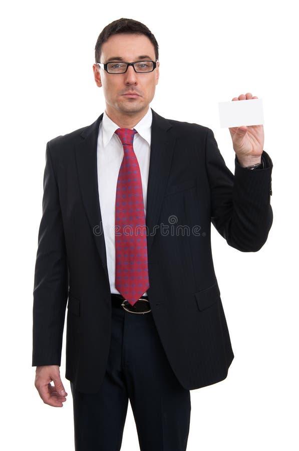 Zakenman die adreskaartje toont stock afbeelding