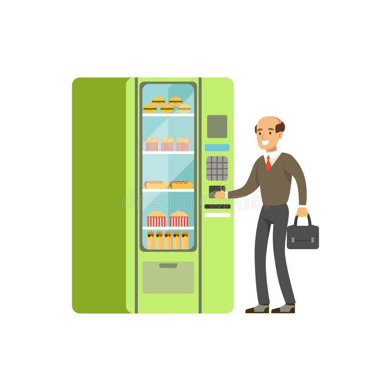 Zakenman die automatische automaat met snel voedsel vectorillustratie met behulp van vector illustratie