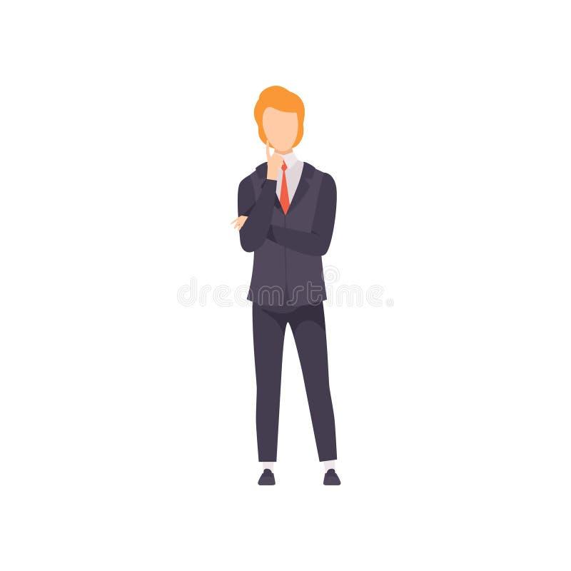 Zakenman die of besluit vectorillustratie inzake een witte achtergrond denken nemen royalty-vrije illustratie