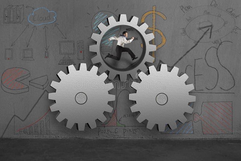 Zakenman die binnen concrete toestellen met bedrijfskrabbels in werking stellen vector illustratie