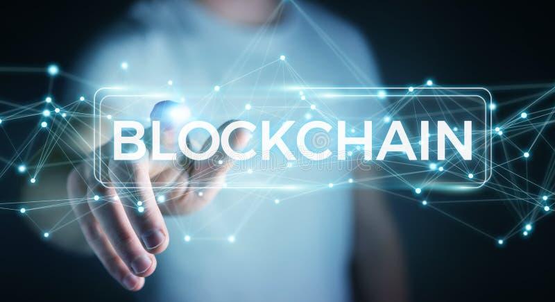 Zakenman die blockchain 3D renderi van de cryptocurrencyinterface gebruiken vector illustratie