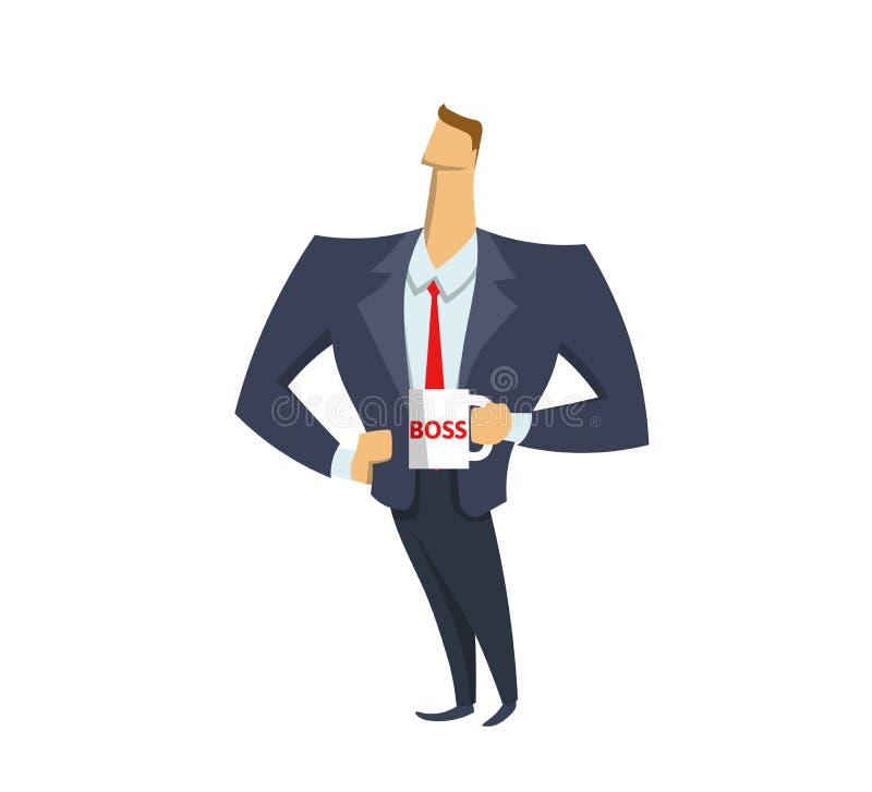Zakenman die in bureaukostuum een chef- mok houden leider Werkgever Succes Het bereiken doelstellingen Concepten vlakke vectorill vector illustratie