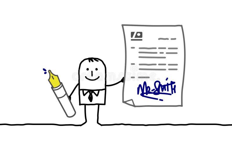 Zakenman die contract ondertekent stock illustratie
