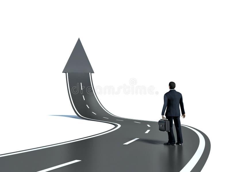 Zakenman die 3d concept van de weg upgoing pijl bekijken royalty-vrije illustratie