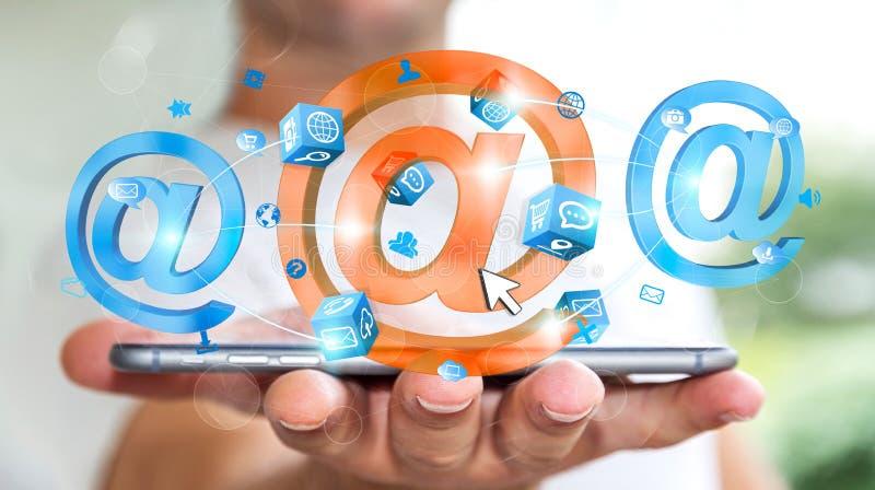 Zakenman die 3D het teruggeven e-mail pictogram over mobiele telefoon houden vector illustratie