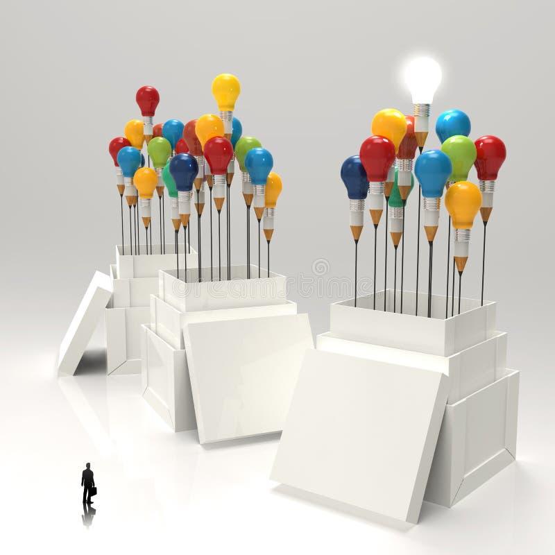 Zakenman die 3d potlood en gloeilamp bekijken stock illustratie