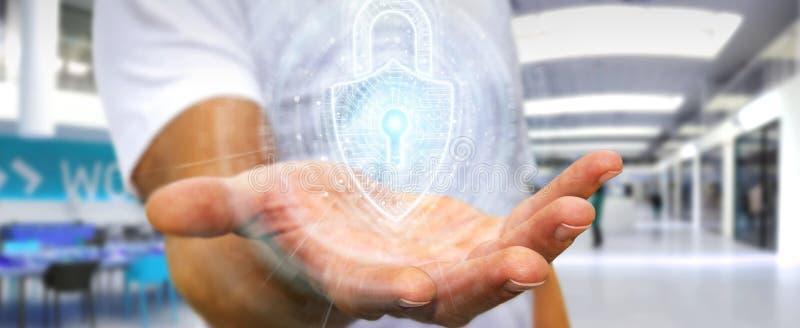 Zakenman die de digitale interface van de hangslotveiligheid gebruiken om datas het 3D teruggeven te beschermen vector illustratie
