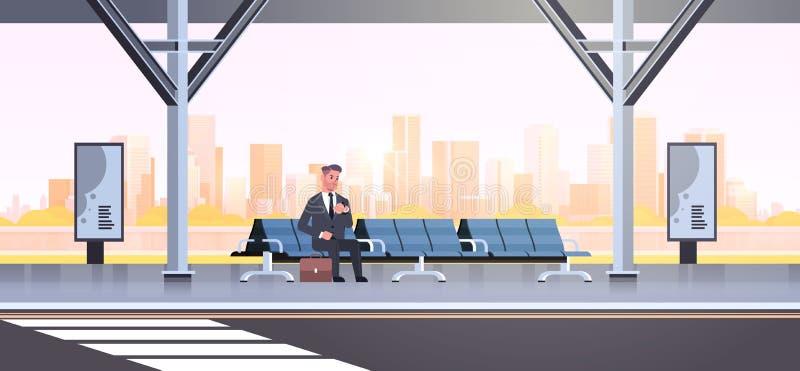 Zakenman die de moderne bushalte bedrijfsmens die met koffer zitten openbaar vervoer op cityscape van de luchthavenpost wachten vector illustratie