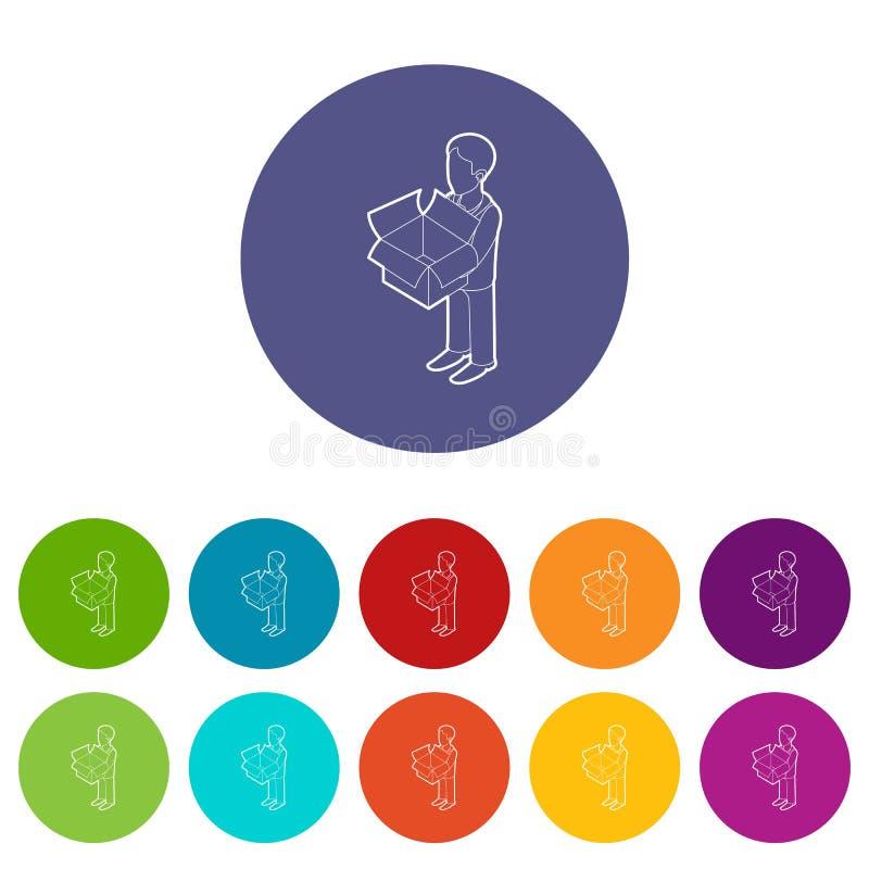Zakenman die de pictogrammen van een overzichtsdoos geplaatst vectorkleur houden vector illustratie