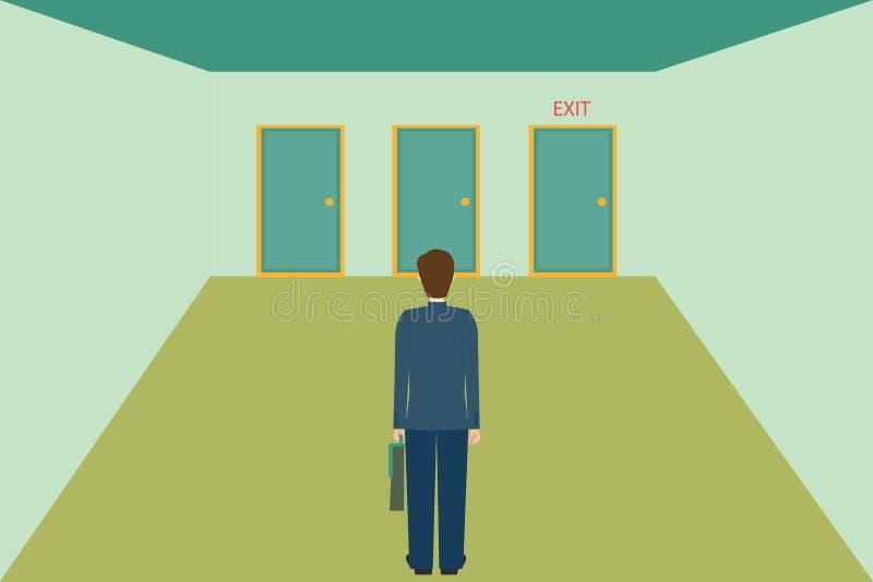 Zakenman die de uitgangsdeur kiezen vector illustratie
