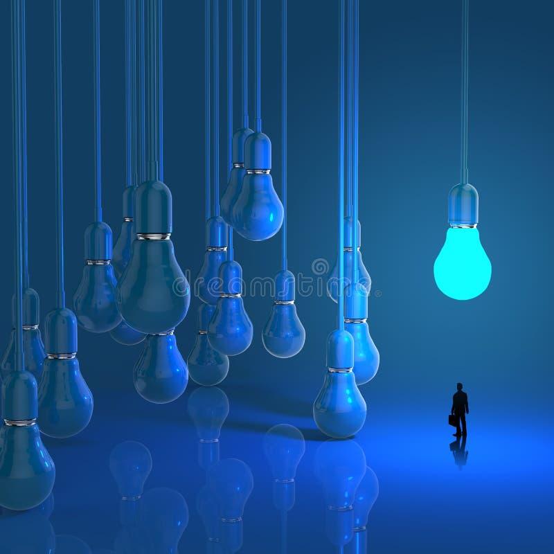 Zakenman die diagram van het lightbulb 3d idee bekijken vector illustratie