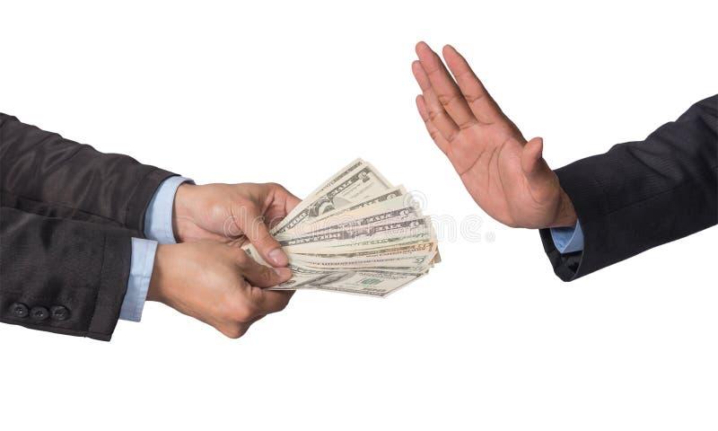 Zakenman die die het geld weigeren door zakenman op witte B wordt aangeboden royalty-vrije stock foto's