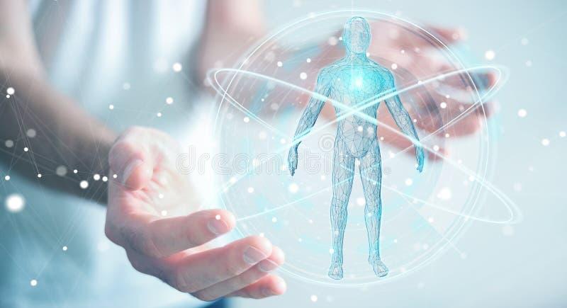 Zakenman die digitale x-ray de interface 3D ren gebruiken van het menselijk lichaamsaftasten royalty-vrije illustratie