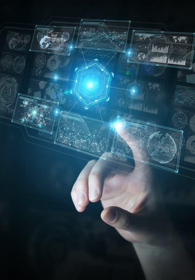 Zakenman die digitale technologische interface met datas het 3D teruggeven gebruiken royalty-vrije illustratie