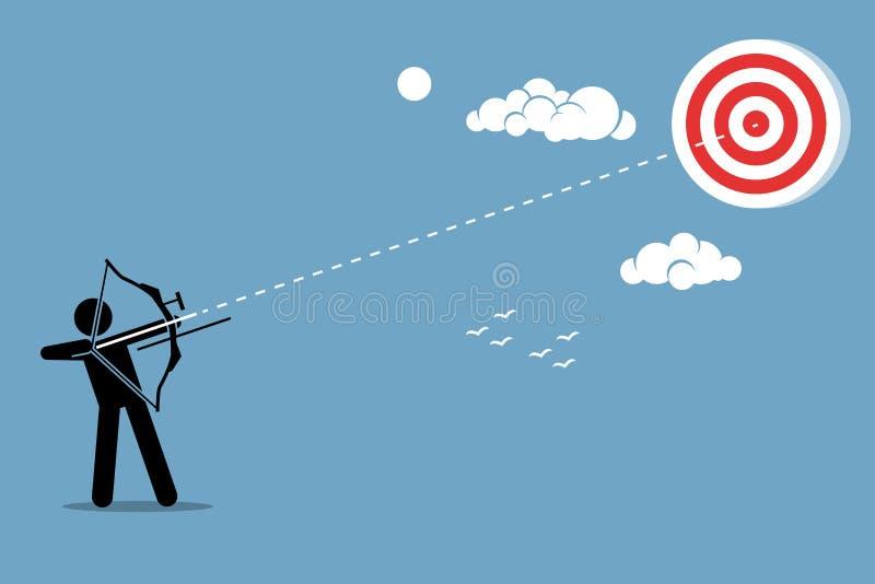Zakenman die doel in een hemel schiet vector illustratie