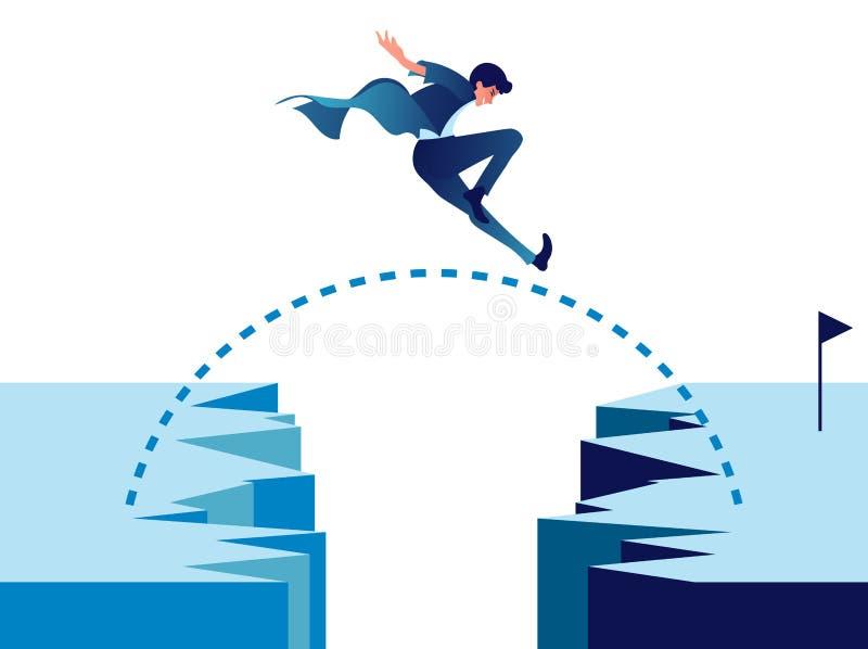 Zakenman die door bergklip springen met succes stock illustratie