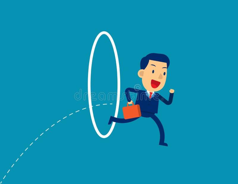 Zakenman die door een hoepel springt De vectorillustratie van het concept, Inspanning, Circle stock illustratie