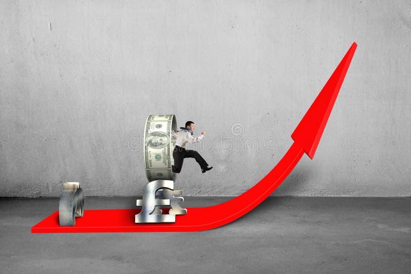 Zakenman die door geldcirkel springen die bij het kweken van rood stapelen stock illustratie