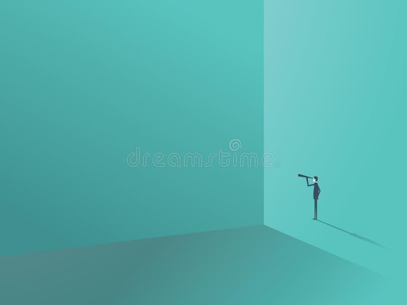 Zakenman die door monocular rond de hoek van grote muur kijken Bedrijfssymbool voor leiding, ziener en royalty-vrije illustratie