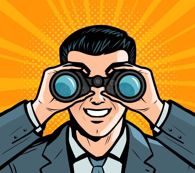 Zakenman die door verrekijkers kijkt Pop-art retro grappige stijl De vectorillustratie van het beeldverhaal vector illustratie